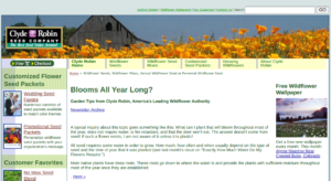 screenshot of the Clyde Robin Seed Company website