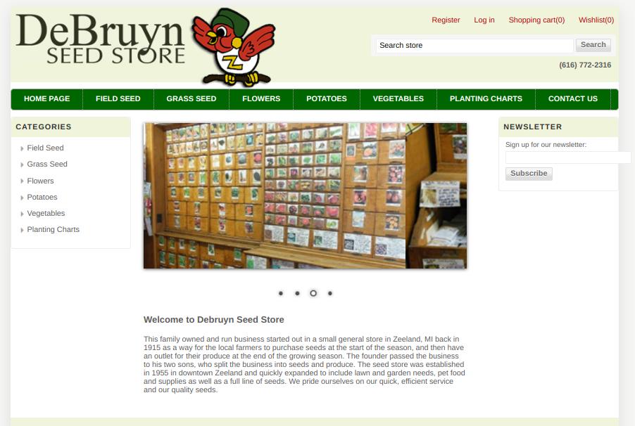 screenshot of DeBruyn Seed Stores website