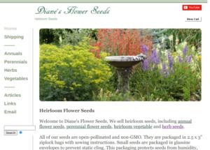 screenshot of Diane's Flower Seeds website