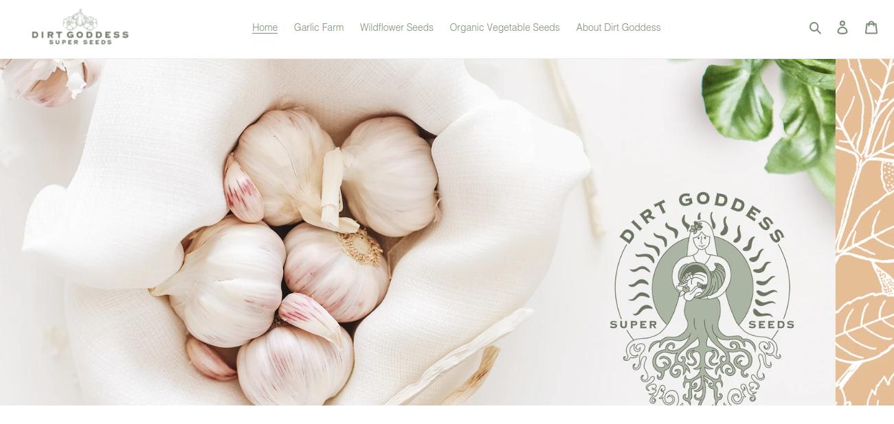 screenshot of Dirt Goddess Super Seeds website