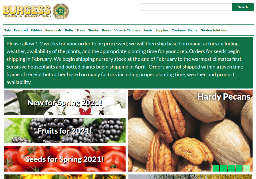 screenshot for Burgess Seed & Plant Co. website