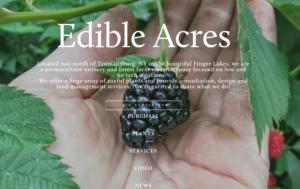 screenshot of Edible Acres website