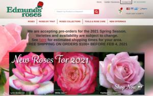 screenshot of Edmunds' Roses website