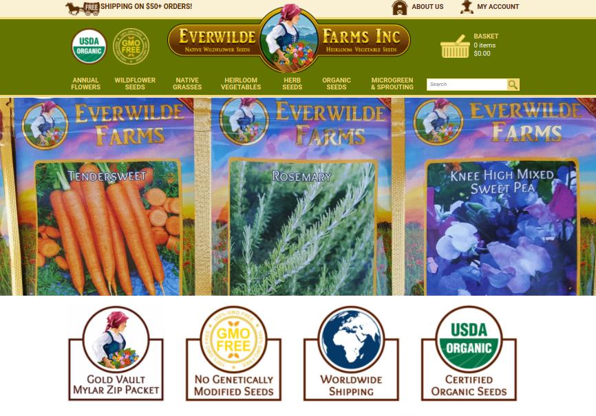 screenshot of Everwilde Farms website