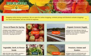 screenshot of Fedco Seeds website