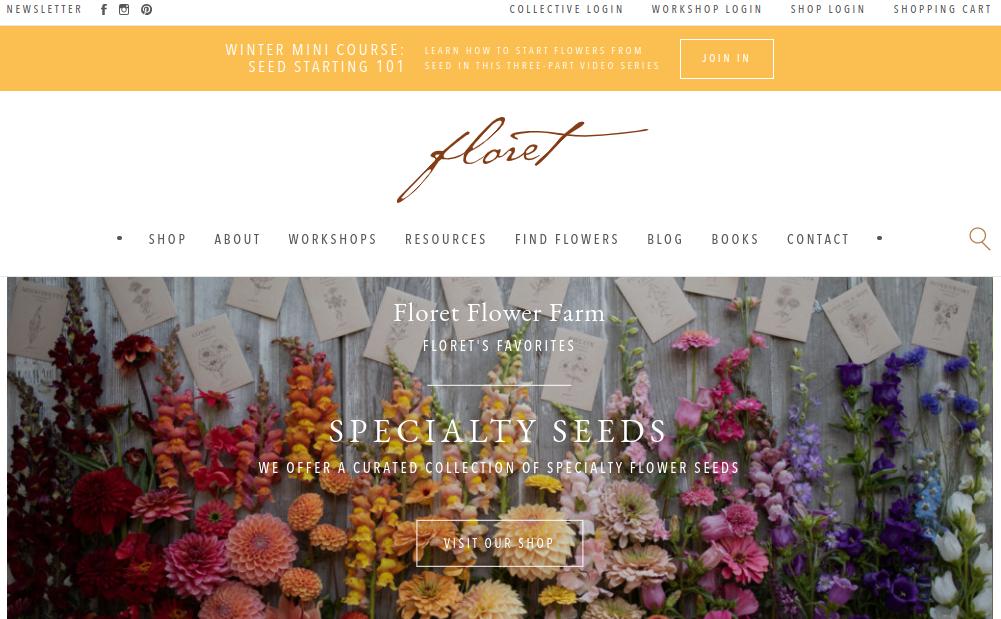 screenshot ofFloret Flower Farm website