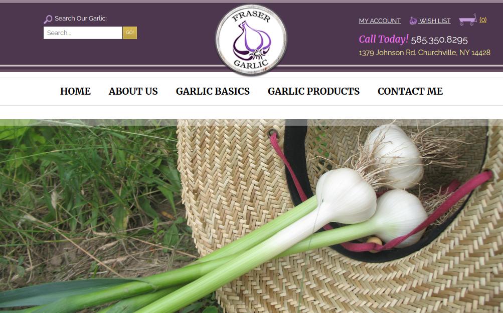 screenshot of Fraser Garlic website