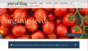 screenshot of Fruition Seeds website
