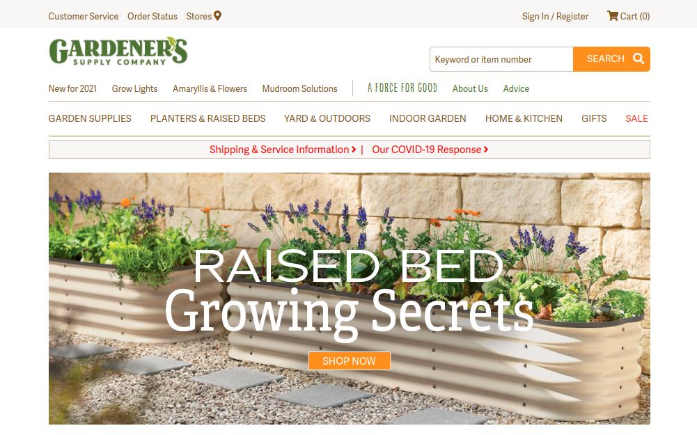 screenshot of Gardener's Supply Company website