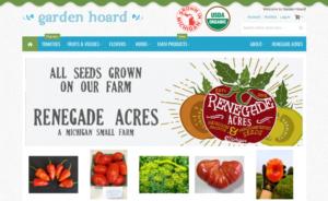 screenshot of Garden Hoard website