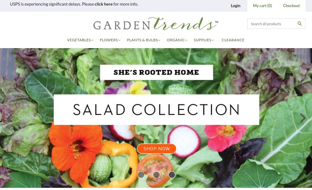 screenshot of Garden Trends website