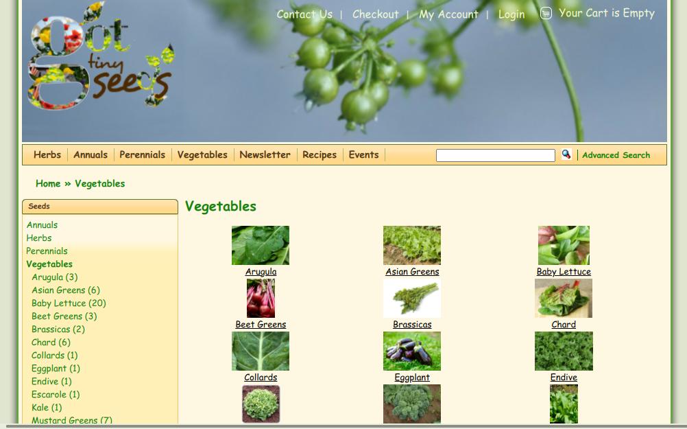 screenshot of Got Tiny Seeds website