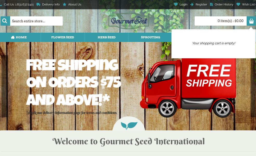 screenshot of Gourmet Seed International website