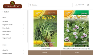 screenshot of Seeds From Italy website