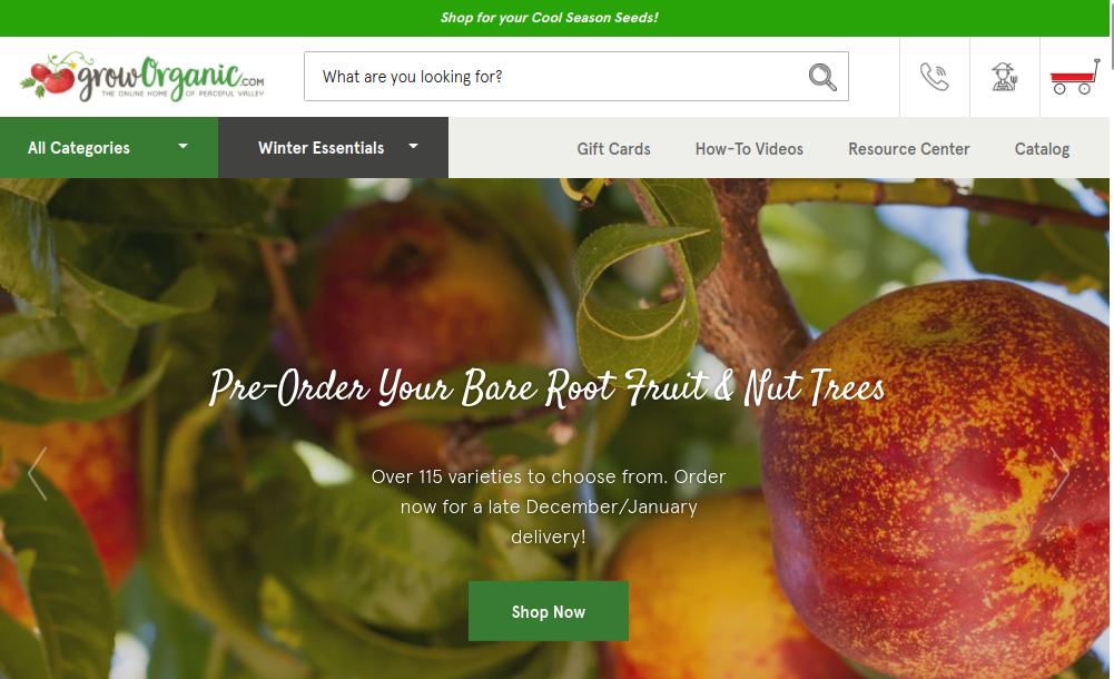 screenshot of Peaceful Valley Farm & Garden Supply/GrowOrganic.com website