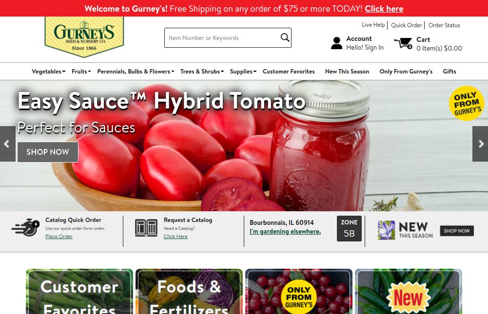 screenshot of Gurney's Seed & Nursery Co. website