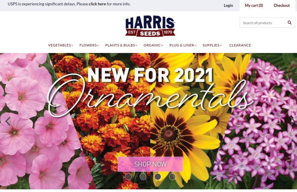 screenshot of Harris Seeds website