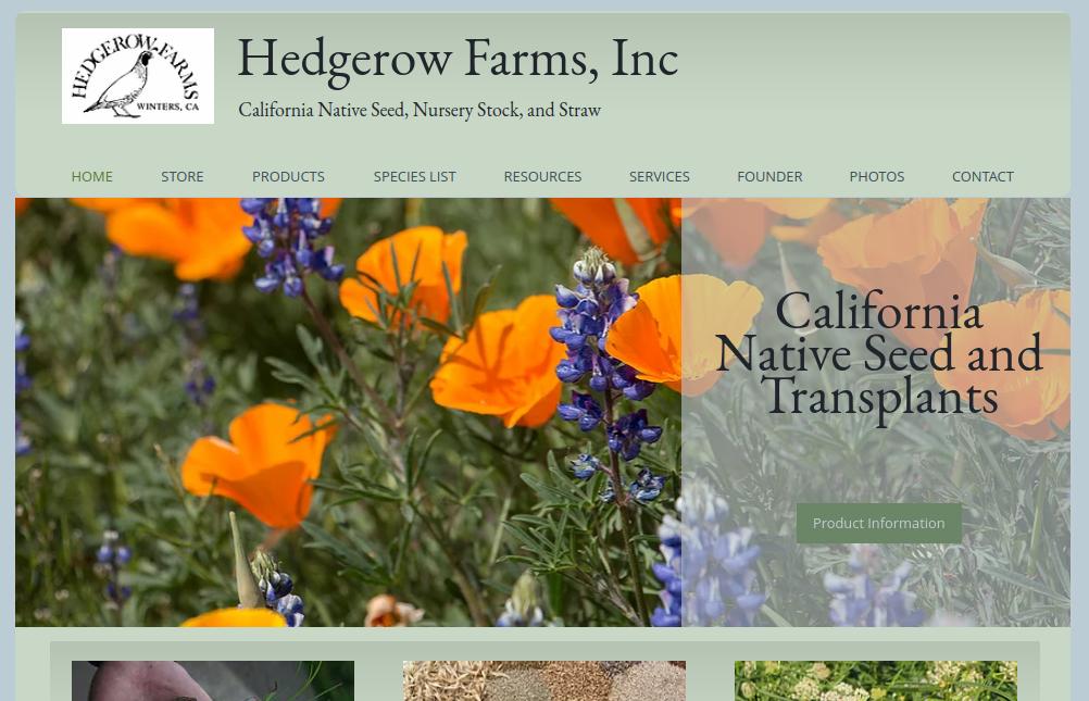 screenshot of Hedgerow Farms website