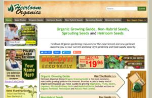 screenshot of Heirloom Organics website
