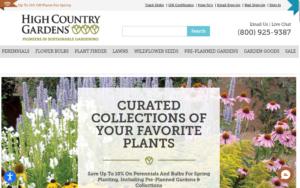 screenshot of High Country Gardens website