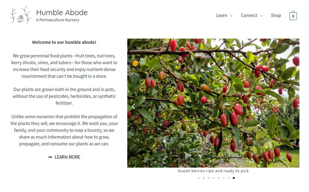 screenshot of Humble Abode Nursery website