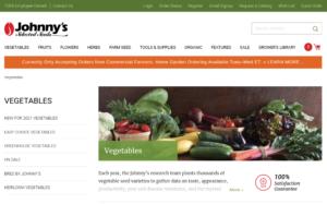screenshot of Johnny's Selected Seeds website