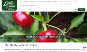 screenshot of Landis Valley website