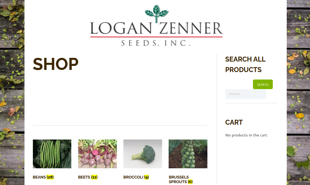 screenshot of Logan-Zenner Seeds website