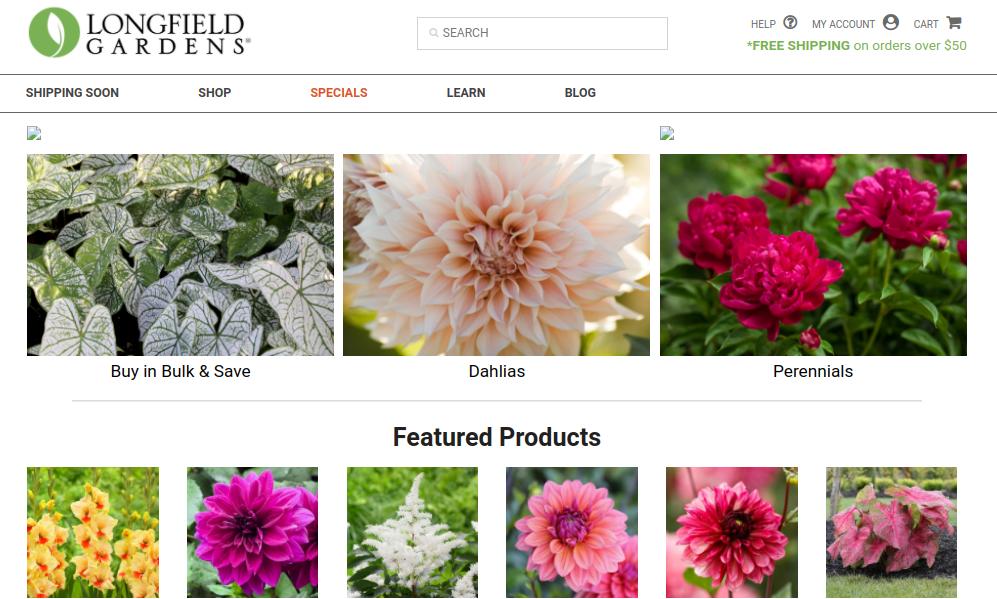 screenshot of Longfield Gardens website