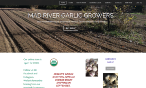 screenshot of Mad River Garlic Growers website
