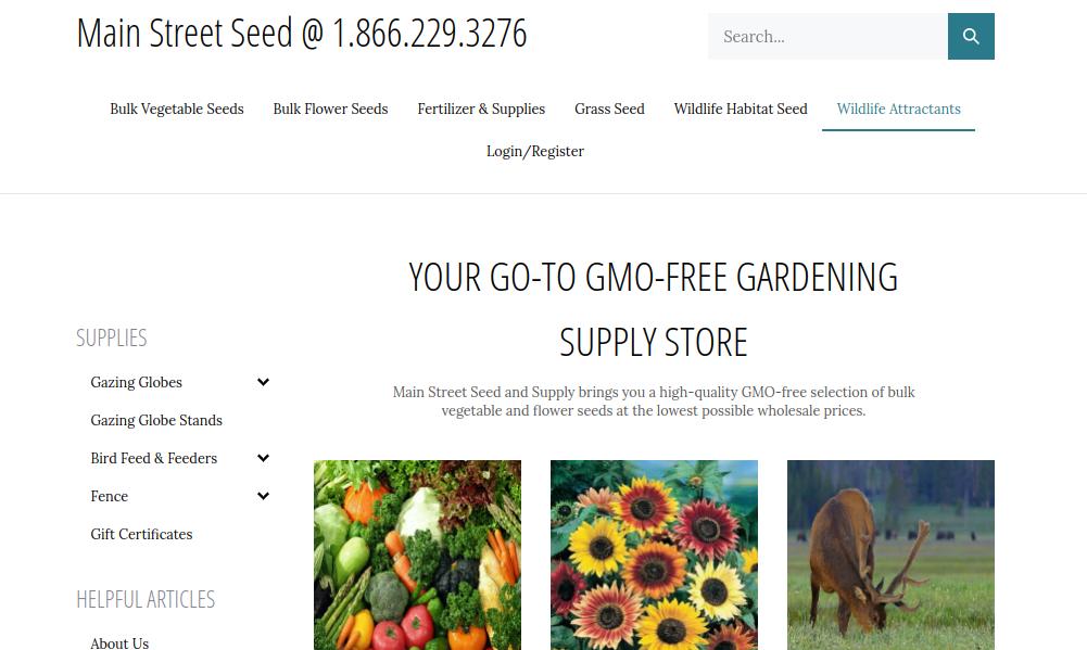 screenshot of Main Street Seed website