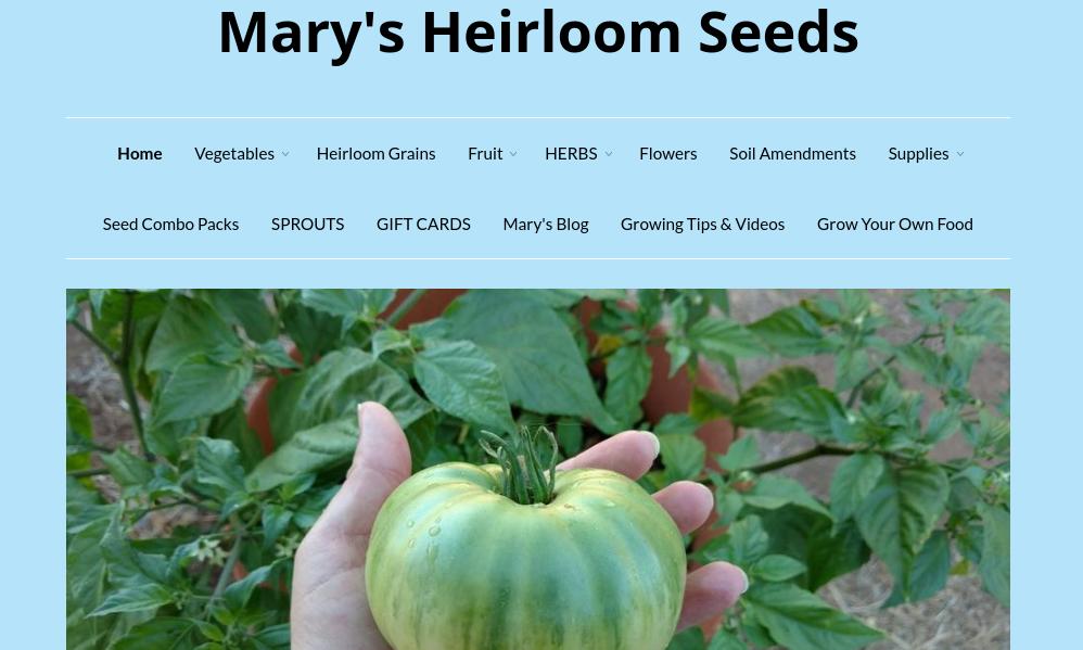 screenshot of Mary's Heirloom Seeds website