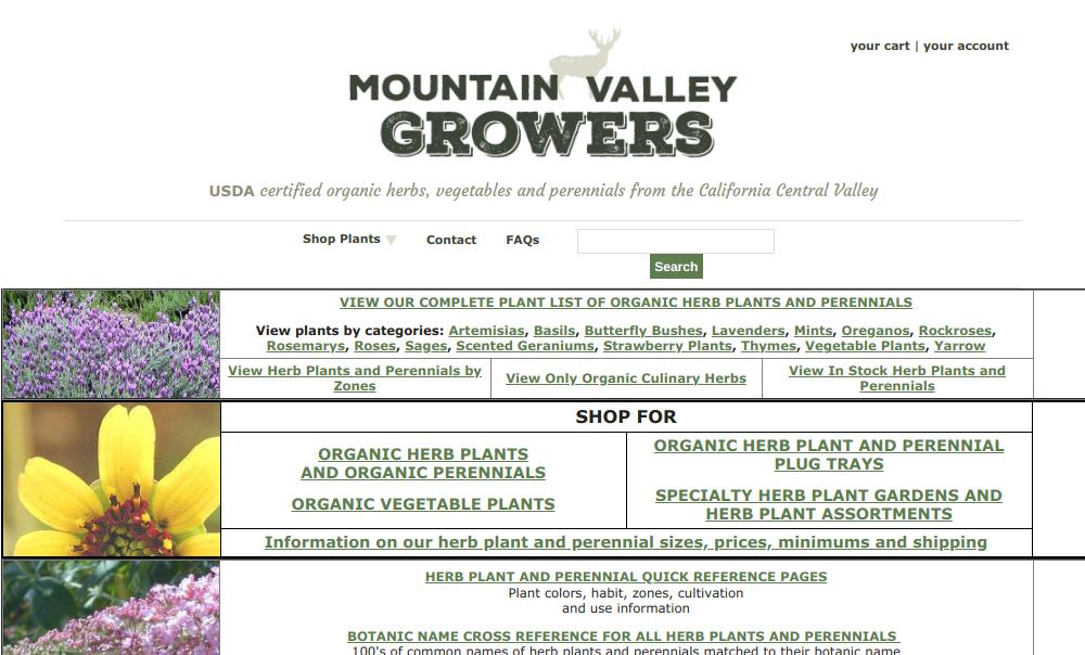 screenshot of Mountain Valley Growers website
