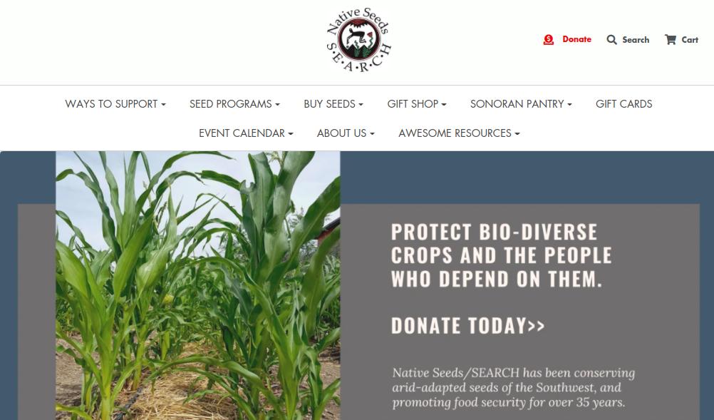 screenshot of Native Seeds / SEARCH website