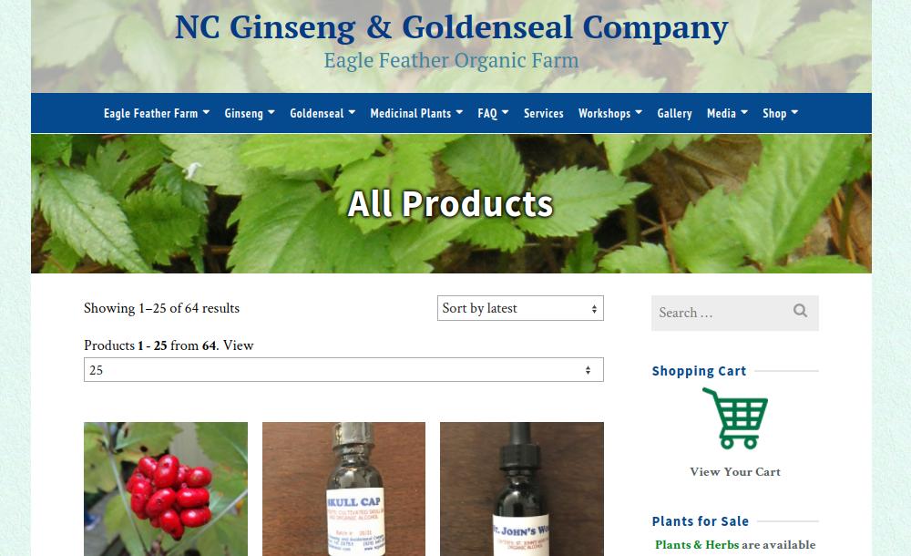 screenshot of NC Ginseng & Goldenseal Company website