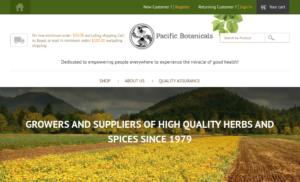 screenshot of Pacific Botanicals website