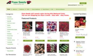 screenshot of Pase Seeds website