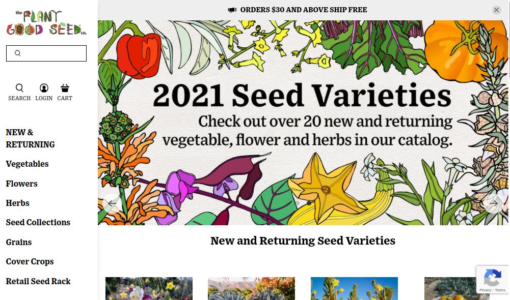 screenshot of The Plant Good Seed Company website