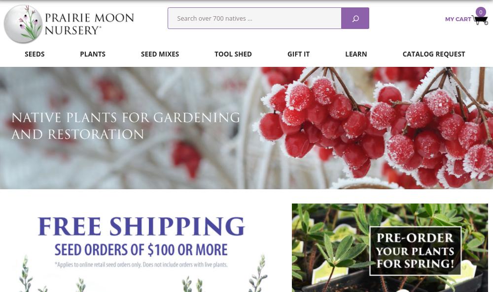 screenshot of Prairie Moon Nursery website