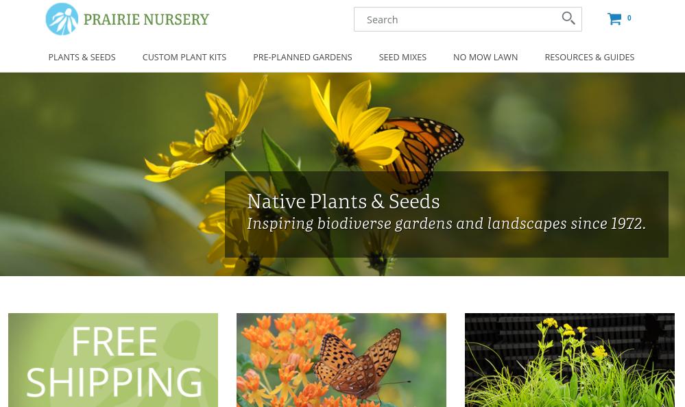screenshot of Prairie Nursery website