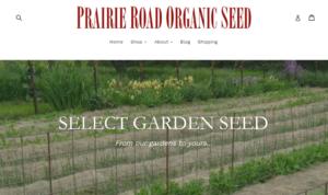 screenshot of Prairie Road Organic Seed website