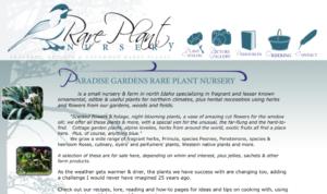screenshot of Rare Plant Nursery website