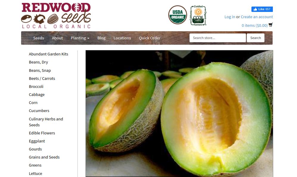 screenshot of Redwood Seeds website