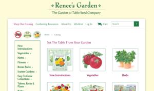 screenshot of Renee's Garden Seeds website
