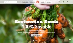 screenshot of Restoration Seeds website