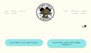 screenshot of Sacred Circle Homestead website