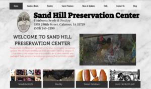 screenshot of Sand Hill Preservation Center website