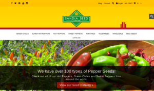 screenshot of Sandia Seed Company website