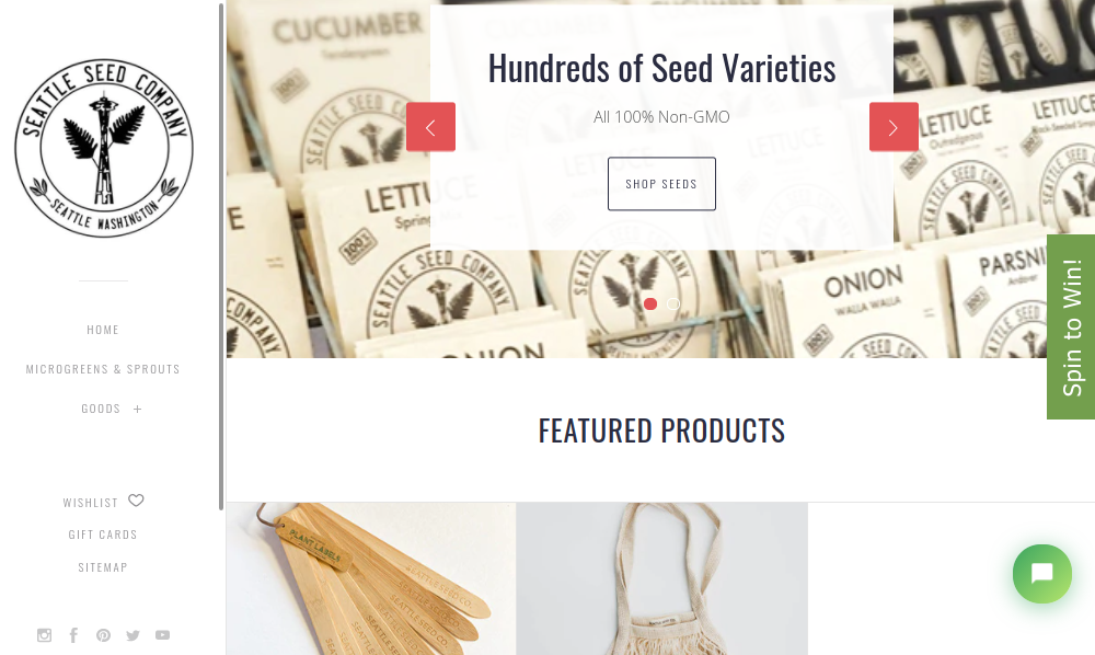 screenshot of Seattle Seed Co. website