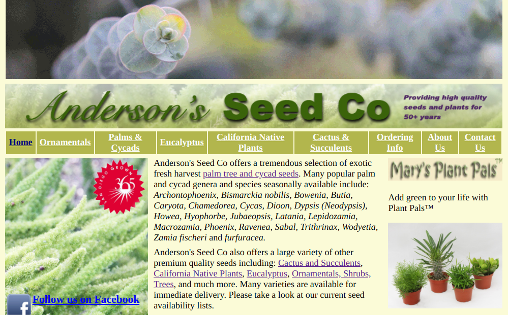 screenshot of Anderson's Seed Co website